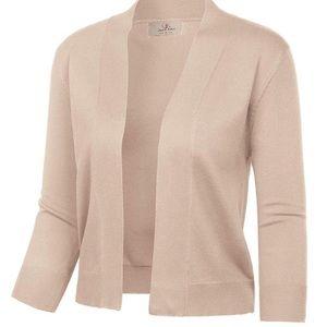 Calvin Klein 3/4 sleeve beige cardigan shrug M